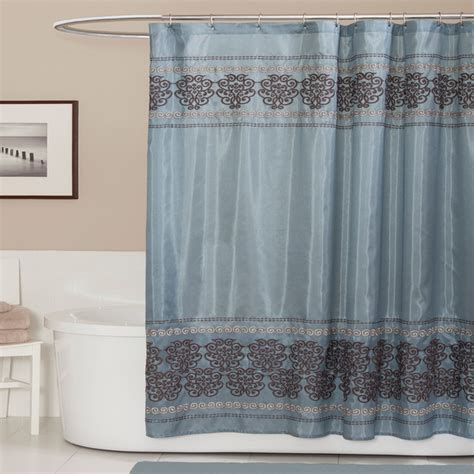 shower curtains brown and blue lush decor royal dynasty blue brown shower curtain