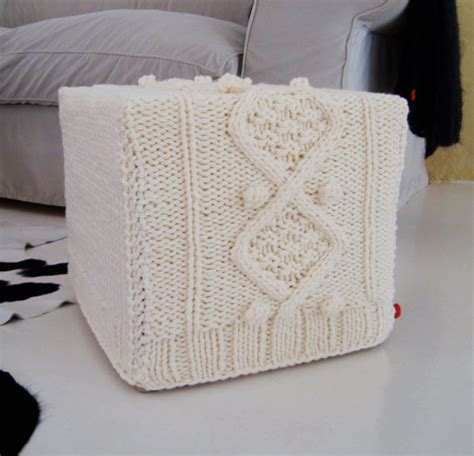 Knitting Pattern For Chunky Aran Cable Ottoman Slip Cover Ottoman Cover Pattern