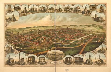 York County Civil Search Historic 1879 Bird S Eye View Map Of York Pa Visit Pa Country