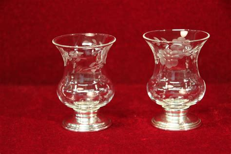 Glass Candle Base Candle Holders Sterling Base Etched Glass