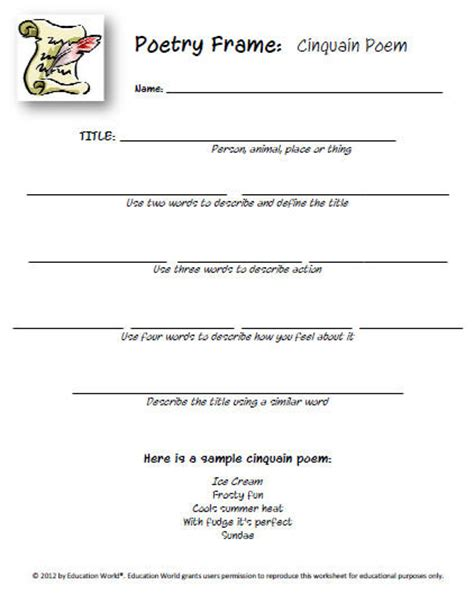 poem templates for high school students education world new templates poetry starters