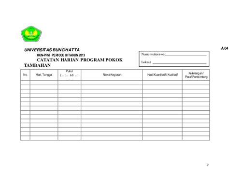 format daftar hadir mahasiswa kkn contoh rancangan program kkn