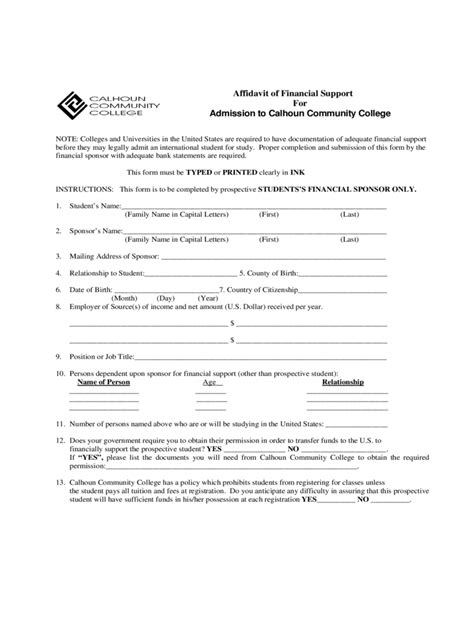 Affidavit Of Support Sle Letter College Affidavit Of Financial Support Form 38 Free Templates In Pdf Word Excel