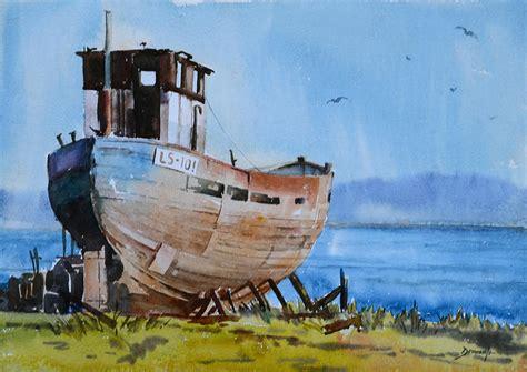 old fishing boat images old fishing boat painting by vinayak deshmukh