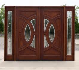 Exterior mahogany double doors in antique cherry finish