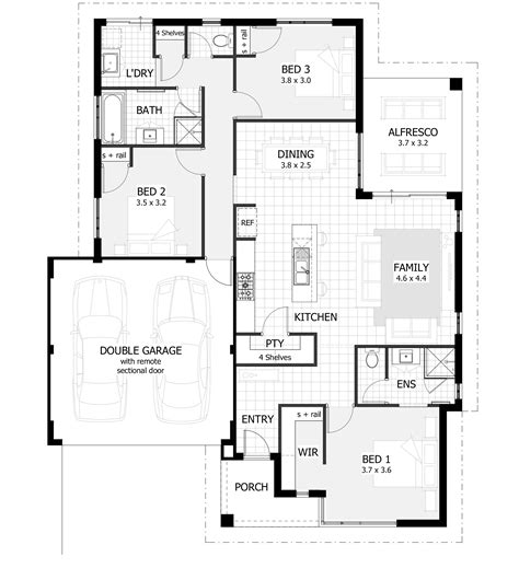 3 Bedroom House Plans Home Designs Celebration Homes Three Bedroomed House Plan