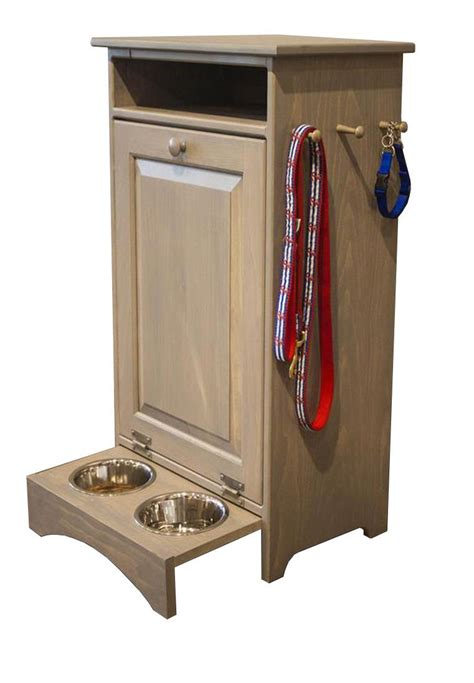 pine pet feeder station with hidden dog bowls from