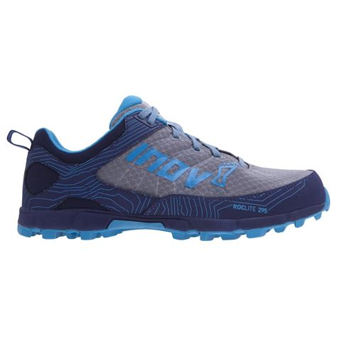 running shoes fitting the inov8 roclite 295 in grey navy and blue for at