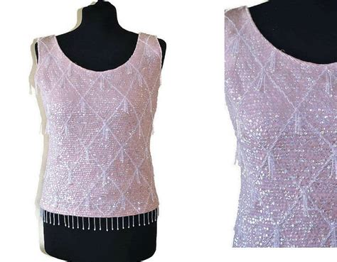 alan 1960s beaded top medium just vintage clothing co