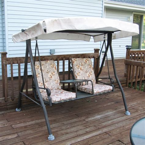 swinging bench canopy menards 2 seat chair style sienna swing canopy and cushion