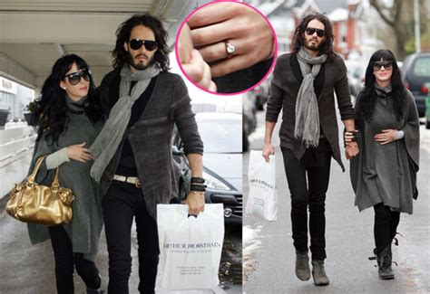 photos of russell brand and katy perry wearing her new engagement ring popsugar celebrity