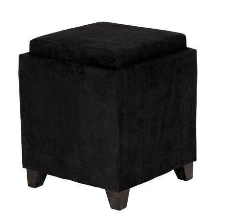 black ottoman serving tray black microfiber square storage ottoman with serving tray