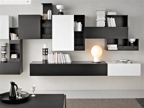 contemporary black wall mounted bookcase stroovi