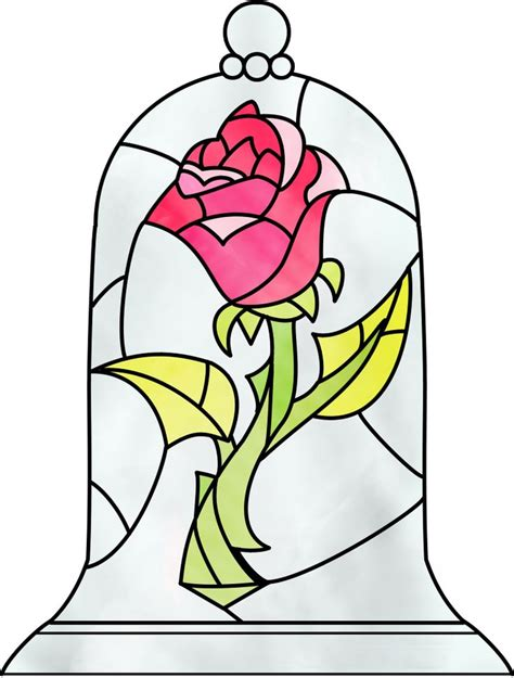 beauty and the beast stained glass rose tattoo idea