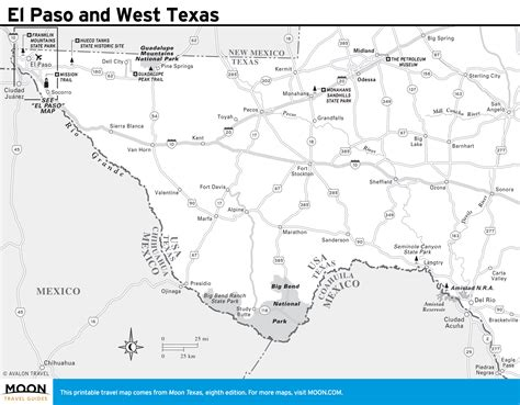el paso texas on map printable travel maps of texas moon travel guides
