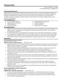 Environmental Health Specialist Sle Resume by Professional Environmental Protection Specialist Templates To Showcase Your Talent Myperfectresume