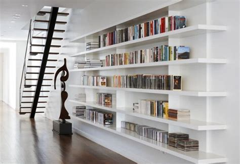 white built in bookshelves car interior design
