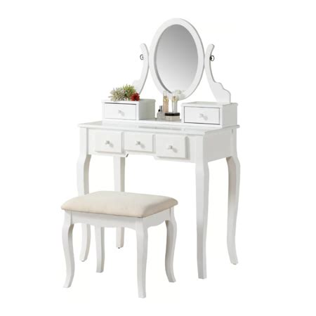 Wood Vanity Table And Stool by Roundhill Wood Make Up Vanity Table And Stool Set