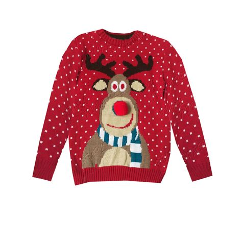 waitrose child christmas jumper boys jumpers rudolph pom pom 3d nose reindeer sweater ebay