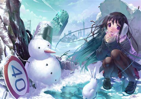 winter anime wallpaper hd winter cityscapes anime snowman wallpaper 2480x1748