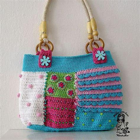 Handmade Crochet Bags And Purses - handmade crochet patchwork bag by vendulkam on etsy