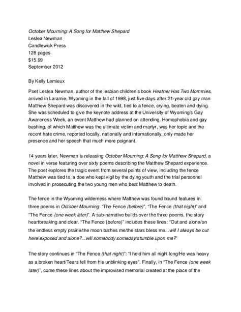 Pdf October Mourning Song Matthew Shepard october mourning matt shepard lambda literary