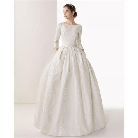 beaded neckline wedding dress 3 4 sleeves gown boat neckline beaded wedding dress