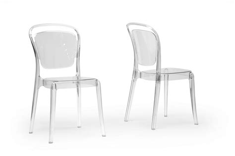 Clear Plastic Dining Chairs Baxton Studio Ingram Clear Plastic Stackable Modern Dining Chair Set Of 2 Interior Express