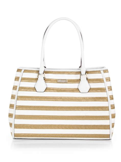 Kate Spade Stella Satchel Bag Ss17 kate spade catherine wensley striped raffia shoulder bag in white lyst