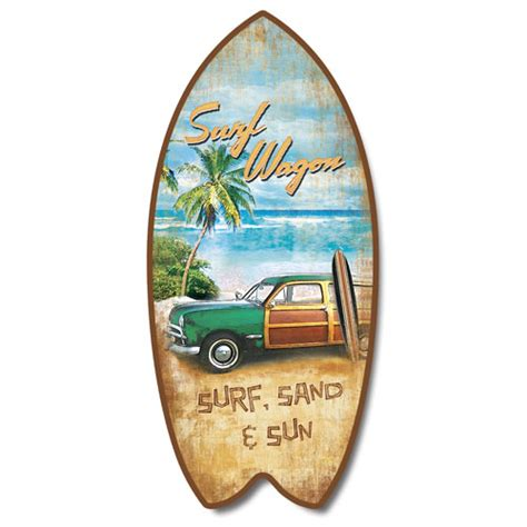 surf home decor retro vintage surf wagon tropical beach surfboard plaque