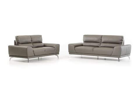 Divani Leather Sofa Divani Casa Thyme Modern Grey Eco Leather Sofa Set