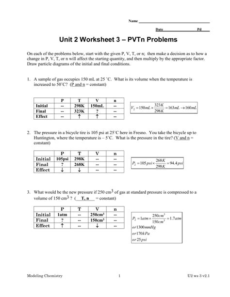 worksheet pressure problems worksheet grass fedjp