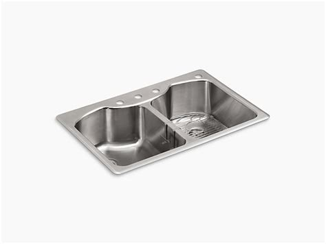 Non Stainless Steel Kitchen Sinks K R3842 4 Octave Top Mount Kitchen Sink With Four Faucet Holes Kohler