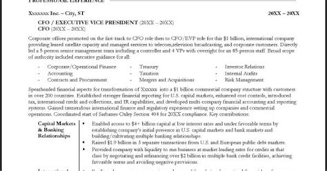 most widely accepted resume format sle cfo resume page 1 resume exles