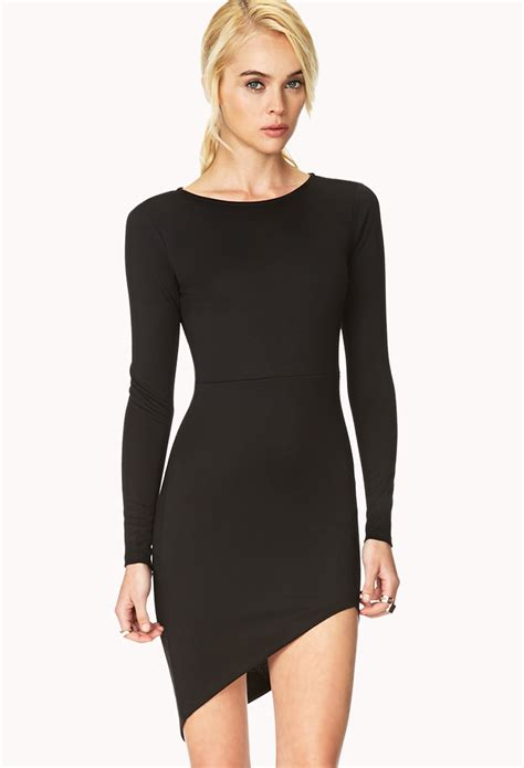 Assymetric Black Dress forever 21 modernist asymmetrical dress in black lyst