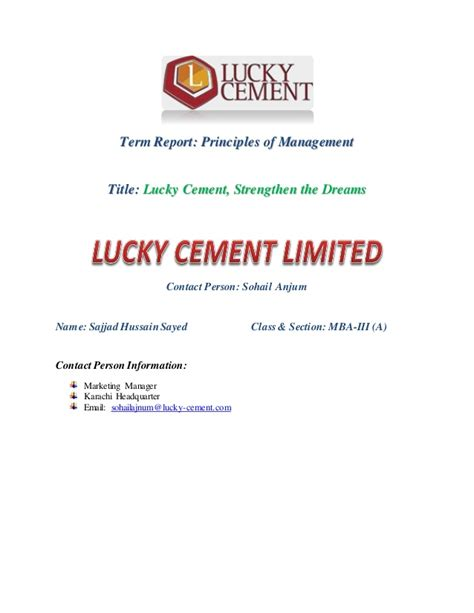 della s project financial statement dan financial reporting project term report lucky cement strengthen the dreams