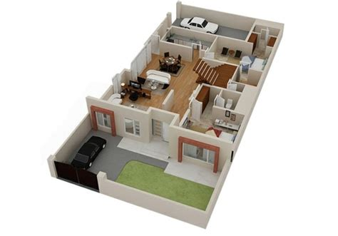 Single Story Farmhouse Plans by Planos De Casas Y Apartamentos En 3 Dimensiones