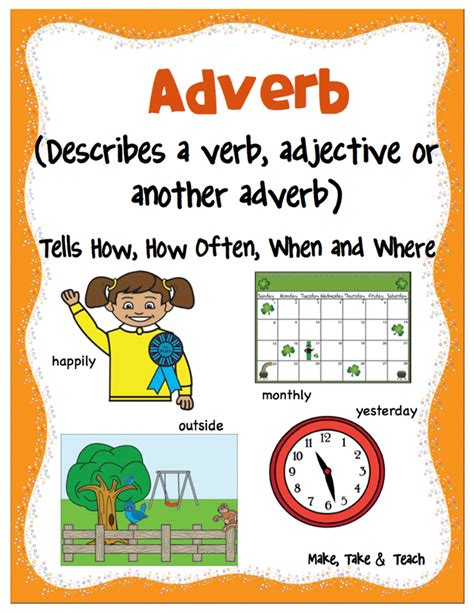 printable adverb poster adverb and types of adverb with exles english hold