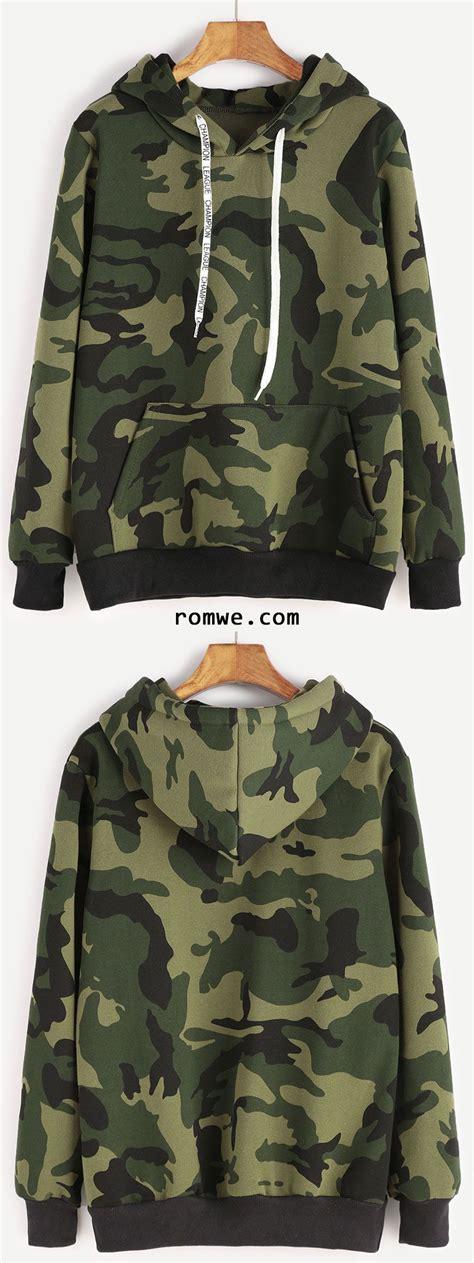 Drawstring Hooded Pocket Pullover camo print contrast trim drawstring hooded pocket