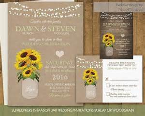 sunflower wedding invitations set sunflowers in rustic jar on burlap or country wood