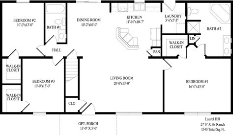 South Ridge Floor Plans by Laurel Hill Ranch Style Modular Homes