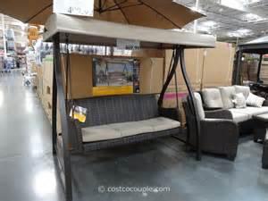patio swing with canopy costco agio international fairview woven patio swing