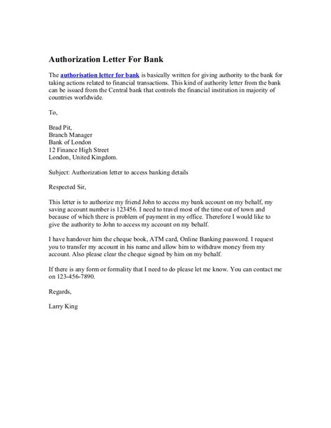 authorization letter format collect cheque book authorization letter for bank