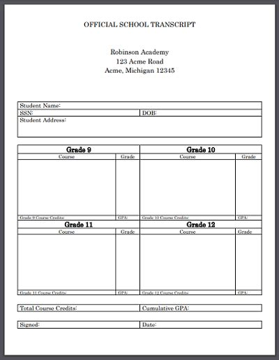 Official High School Transcript Template For Homeschool Student Handouts Official College Transcript Template