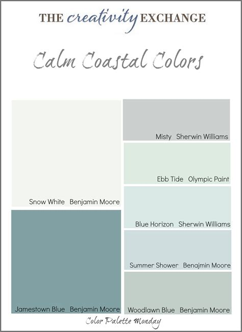 calming colours calm coastal paint colors color palette monday
