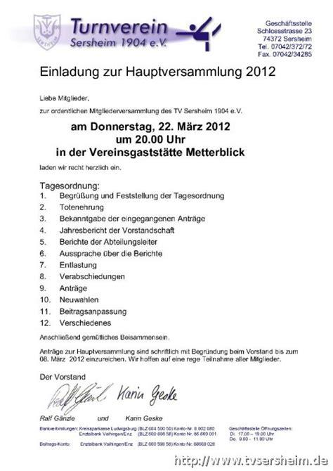 Muster Einladung Zur Jahreshauptversammlung Verein Turnverein Sersheim 1904 E V