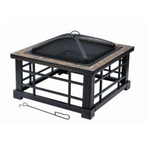 square pit insert home depot hton bay woodspire 30 in square slate steel pit