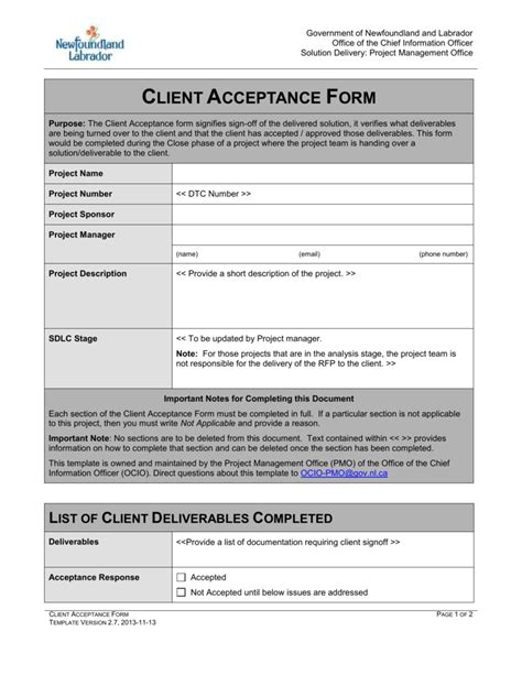 nice project acceptance form template pictures gt gt project