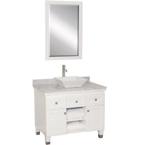 White Bathroom Vanity With Sink 36 Quot Premiere Single Vessel Sink Vanity White