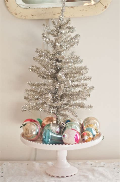 decorating idea mini tree on a cake stand christmas is